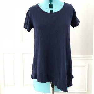W Wilt navy blue asymmetrical slub knit shirt top